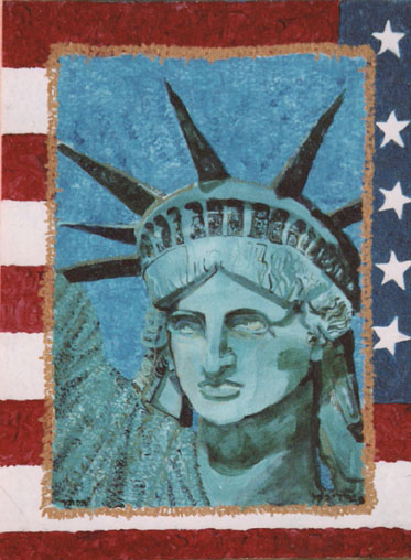 statue of Liberty painting by Judy Rey Wasserman