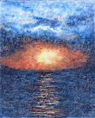 Scripture art of Genesis Aleph Sunset (strokes = Genesis 1-2:7) By Judy Rey Wasserman