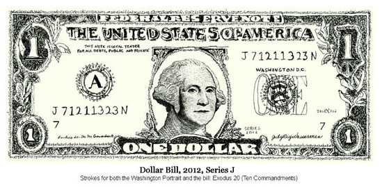Dollar Bill, 2012, Series J by Judy Rey Wasserman (Ten Commandments)