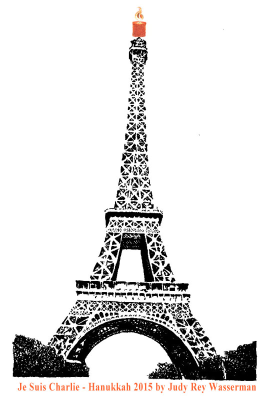 Eiffel Tower created with strokes from Bible's Psalm 1 and Psalm 23 by Judy Rey Wasserman