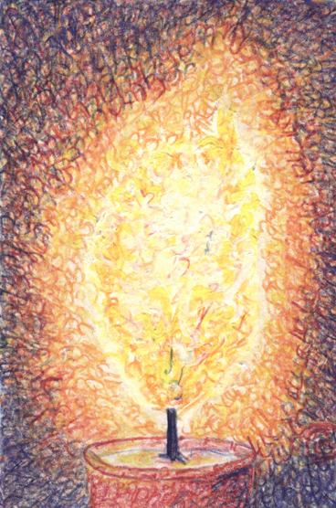 Genesis Candle Aleph painting by Judy Rey Wasserman