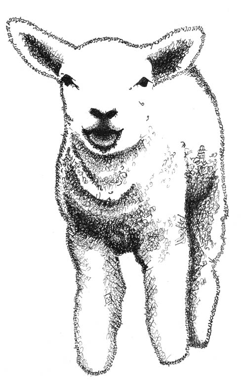 Lamb by Judy Rey Wasserman using letters from Bible texts for strokes