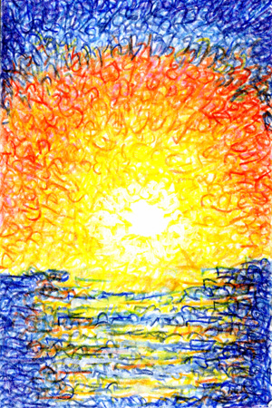 Lover's Sunset by Judy Rey Wasserman created with strokes that are the original letters of Genesis 1-2:6