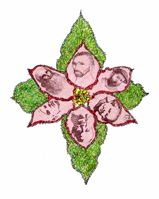 Poinsettia with portraits of van Gogh, Da Vinci, Picasso, Warhol, Monet and Rembrandt