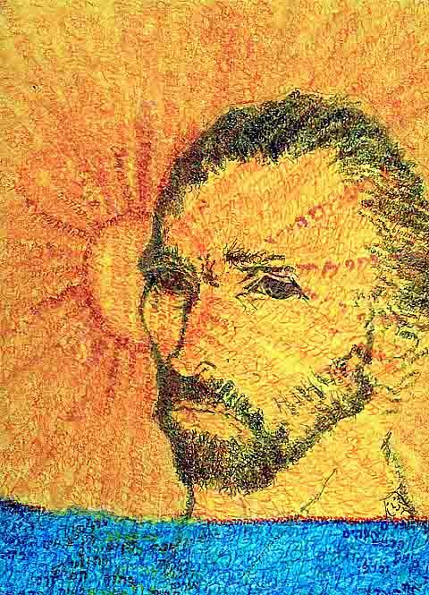 Portrait of Vincent van Gogh Sunset by Judy Rey Wasserman
